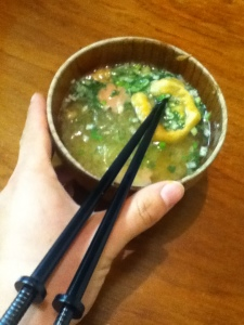 Typical Japanese food- Miso Soup!! Plus my brand new katana chopsticks :D